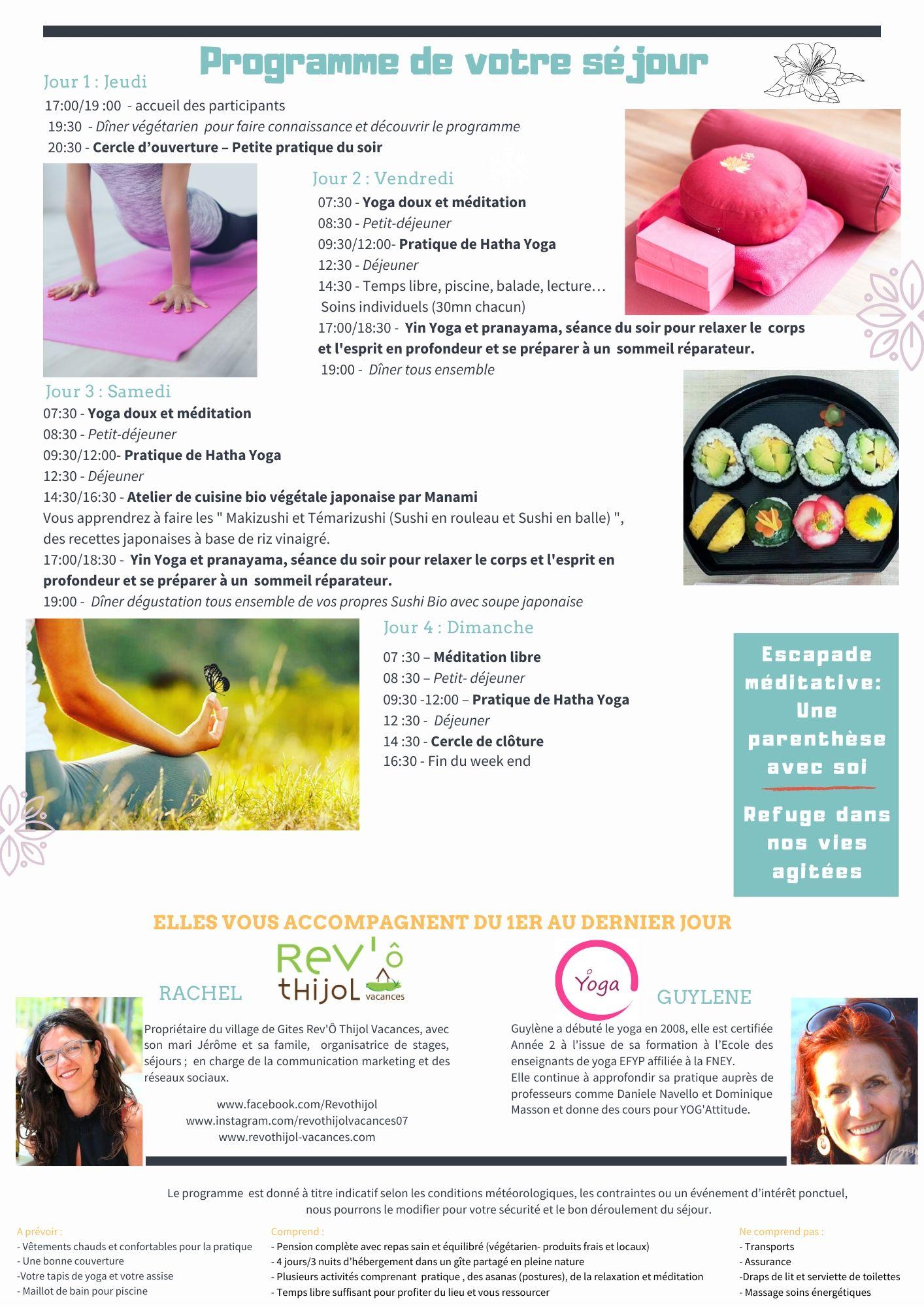 programe séjour yoga sud ardèche